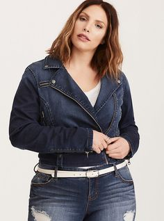 Plus Size Denim Moto Jacket, INDIGO RIDER
