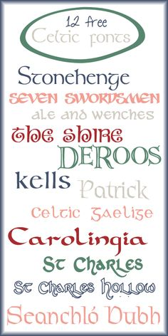 {enjoy the view}: Free font fun! 12 Free Celtic Fonts with easy links