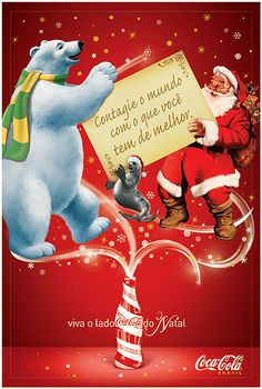 COKE CHRISTMAS PICTURES | 2007 Coca-Cola Christmas Natal Brazil | Flickr - Photo Sharing! Coke Santa, Coca Cola Santa, Coca Cola Christmas, Coca Cola Poster, Coca Cola Polar Bear, Vintage Santas, Vintage Christmas, Father Christmas Letters, Necklaces