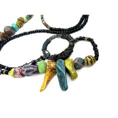 Eclectic Spike Bead Necklace Colourful Painted Beads - Hand Crafted Artisan Ceramic Bead Jewellery | Ragged Robyn