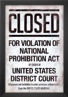 Prohibition Act Closed Sign Notice Poster Masterprint Roaring 20s Party, 1920s Party, Great Gatsby Party, Nye Party, The Great Gatsby, Roaring Twenties, 1920s Theme, Gatsby Theme, Flapper Party