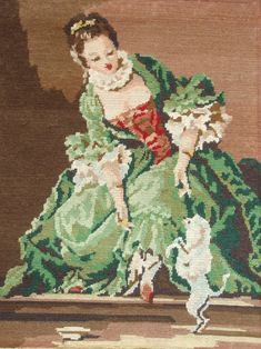 Vintage French needlepoint tapestry canvas embroidery - Lady with dog, after…