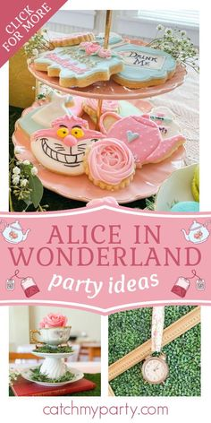Take a look at this lovely Alice in Wonderland 1st birthday party! The cookies are stunning! See more party ideas and share yours at CatchMyParty.com #catchmyparty #partyideas #aliceinwonderland #aliceinwonderlandparty #girlbirthdayparty #girl1stbirthdayparty 1st Birthday Girl Decorations, Girls Birthday Party Themes, Birthday Activities, Tea Party Birthday, 1st Birthday Girls, Birthday Celebrations, Birthday Ideas, Girl Shower, Baby Shower