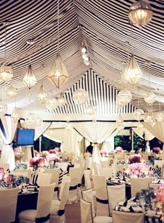 mindy weiss event planner, jose villa photographer, and revelry event designers.: Black + White Striped Tent with Gold accents