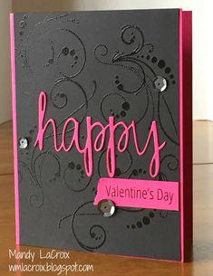 Avery Elle Simply Said: Happy die & stamps Elegant Valentine's Day card