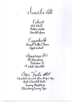 Dessert table menus | Princess Shower | Pinterest | Desserts ...