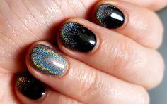 Black and grey holo powder nails