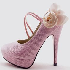 Flowers Wedding Shoes,Price: $44.99,all free shipping http://www.getmorebeauty.com/glitter-ankle-belt-silk-with-flowers-high-heel-women-wedding-shoes-p-9.html