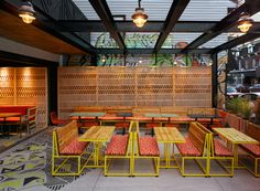 South Africa's very own Nando's has a stylish new restaurant on Queen Street West inToronto designed by international Outdoor Seating, Outdoor Dining, Outdoor Decor, Dining Area, Nando's Restaurant, R Cafe, Restaurant Interior Design, Restaurant Interiors, Al Fresco Dining