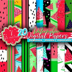#Watermelon #digital #papers #bundle #kit #Instant #Summer #must #have #20 #twenty #designs #Fabrics #Planner #Stickers #Papers #Crafts #Textile #Printable #etsy
