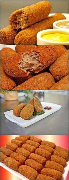 Croquete de Carne #CroquetedeCarne #Croquete #receitatodahora Tapas, Great Recipes, Favorite Recipes, Good Food, Yummy Food, Portuguese Recipes, Mexican Food Recipes, Food Inspiration, Food To Make