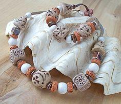 Купить Пара бус. - Керамика, авторская керамика, керамические украшения, Этнический стиль, этническое украшение