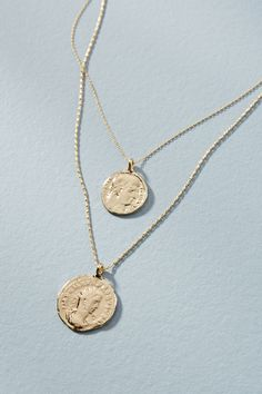 Slide View: 2: Double Coin Layered Necklace