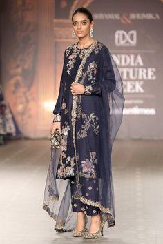 Shyamal and BhumikaThe Renaissance Muse Collection Suit - Nevy Blue Color Pakistani Wedding Outfits, Pakistani Bridal Dresses, Pakistani Dress Design, Indian Dresses, Indian Outfits, Shadi Dresses, Women's Dresses, Dress Outfits, Sari