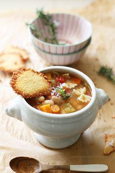 Yummy Mummy Kitchen: Harvest Pasta e Fagioli Soup with Parmesan Crisps