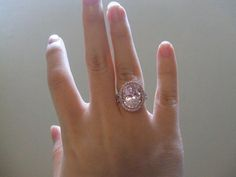6 ct morganite surrounded by pink diamonds in halo setting ring   # Pin++ for Pinterest #
