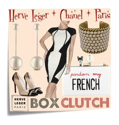 """""""Box Clutch   Herve Leger   Chanel"""" by cristine-rosa on Polyvore featuring Post-It, Cecilia Ma, Hervé Léger, Chanel, women's clothing, women's fashion, women, female, woman and misses"""