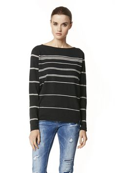 Lightweight boat neck T-shirt with thin gradational stripes. Side slits at hem. Rolled edges. Semi-sheer. Fabric: 100% cotton. Fit: True to size. Slightly boxy, relaxed.