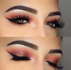 warm bronze shimmer smokey eye w/ black winged liner - Bella Torres (@bellamakeup_) using the Modern Renaissance Palette. #makeup