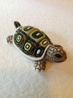 Ceramic Green Collectible Turtle Signed By Artist