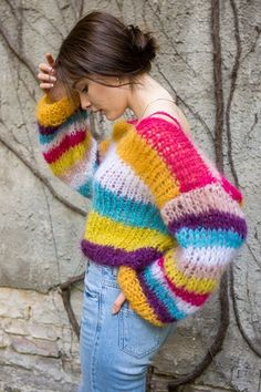 Striped chunky mohair sweater by Patkas Berlin