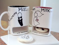 Milk and Cookies Mugs  Bride and Groom Wedding Gift by claytopia, $45.00