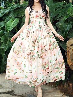 Ericdress High-Waist Pleated Maxi Dress