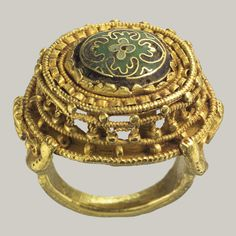 Date: 10th–11th century. Geography: Made in Germany. Culture: German. Medium: Gold with cloisonné enamel. Dimensions: Overall: 1 x 7/8 x 11/16 in. (2.5 x...