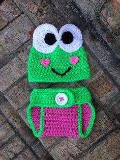 3 baby lambs - Crochet Newborn Girl Keroppi Valentine Set, $31.00 (http://www.3babylambs.com/crochet-newborn-girl-keroppi-valentine-set/)