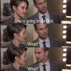 This was an interview about zip lining and other stunts, Theo was saying how daring Shai is ~Divergent~ ~Insurgent~ ~Allegiant~
