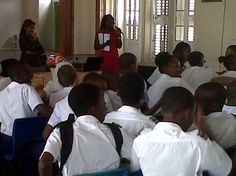 Dr Rambarran from The Sparman Clinic giving a health talk on HIV & STD's to the students at St Michael School, Barbados.