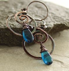 Swirly hoop electric blue copper earrings with by IngoDesign, $27.00