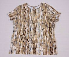 JM COLLECTION (MACY'S) * BROWN * TAN * IVORY * Short Sleeve KNIT TOP * Size 1X #JMCOLLECTION #KnitTop #Casual