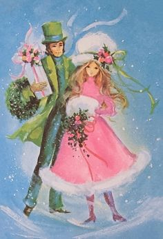 Vintage Christmas Card Girl Pink Dress Victorian Couple Muff Hat Greeting