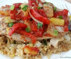Crock-Pot Sweet & Sour Pork Chops - Pork chops are simmered away in the slow cooker with onions and bell peppers in a homemade tangy sauce in this recipe. Serve the tender fall-off-the-bone Crock-Pot Sweet & Sour Pork Chops over fried rice or noodles for a quick and easy dinner. [recipe from CrockPotLadies.com]