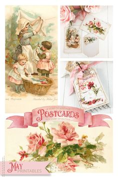 May free vintage postard printables for A Year of Vintage Postcards project by Shabby Art Boutique Vintage Postcards, Vintage Images, Greeting Card Sentiments, Printable Postcards, Christmas Stencils, Happy Birthday Greeting Card, Shabby Chic Crafts, Vintage Easter, Animal Design