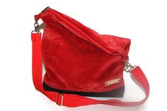 Fold over bag Women Red Faux leather bag  lady bag cross by BYildi