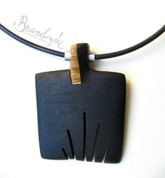 Items similar to WOODEN JEWELRY - Original Designed Wooden Necklace - exotic black ebony and oak wood with aluminum tube, 3mm leather cord o...