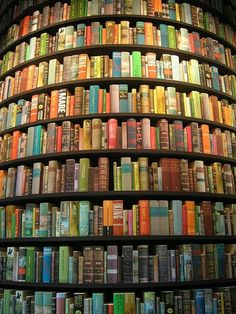 Round bookshelf - Wouldn't you love to spend a few hours pondering through these shelves?  :)