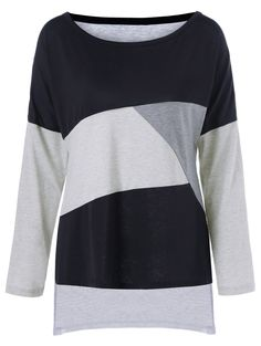 Plus Size Drop Shoulder Color Block T-Shirt in Black And Grey | Sammydress.com