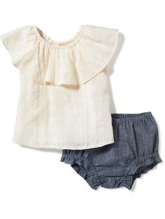 Ruffled Dobby Top & Chambray Bloomers Set for Baby Product Image
