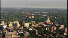 Looking west at the Beautiful Central West End skyline in front of @ForestPark4Ever via SkyFOX Helicopter