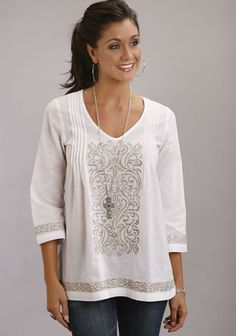 Stetson® Women's 3/4 Sleeve Embroidered Tunic  - White