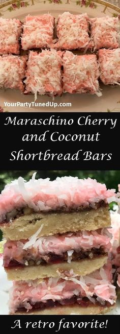 The shortbread crust on these delish Cherry Bars is rich and buttery, the filling brims with cherries and walnuts, topped by a cherry frosting and coconut. From a retro cookbook, a new favorite! Just Desserts, Delicious Desserts, Dessert Recipes, Bar Recipes, Recipies, Cherry Desserts, Cherry Recipes, Coconut Recipes, Coconut Bon Bons Recipe