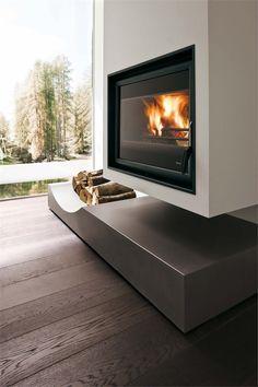 Contemporary interior design with fireplace San Leo