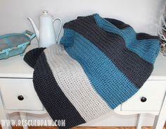 Free Simple Color Blocked Crochet Blanket Pattern by Rescued Paw
