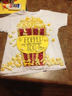 "Aubrey's 100th day of school shirt! ""I 'Popped' my way through 100 days!!"