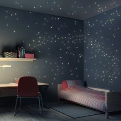 Fun Kid's Space Themed Bedroom Design Ideas. Find and save ideas about Space theme bedroom in this article. Boys Space Bedroom, Outer Space Bedroom, Small Room Bedroom, Trendy Bedroom, Small Rooms, Warm Bedroom, Bedroom Themes, Nursery Themes, Bedroom Decor