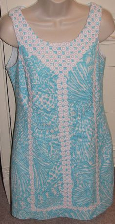2af0da9460a3 Lilly Pulitzer Size 6 MacFarlane Shorely Blue Sea Cups Lace Detail Shift  Dress #LillyPulitzer #ShiftShiftDress #Casual