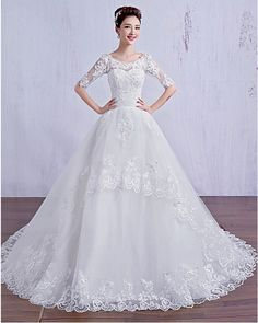 Free Shipping Ball Gown bride Wedding Dress - Ivory Court Train Scoop Tulle
